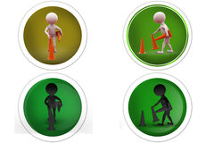 3d Man remove traffic cone concept icon Royalty Free Stock Images