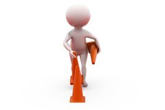 3d man remove traffic cone concept Stock Photos