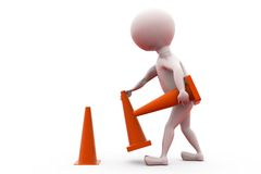 3d man remove traffic cone concept Royalty Free Stock Photography