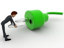 3d man repair electric plug connector concept Stock Images