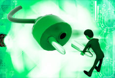 3d man repair electric plug connector illustration Royalty Free Stock Photo