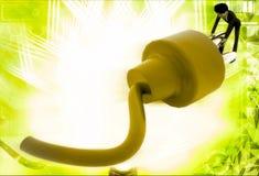 3d man repair electric plug connector illustration Stock Images