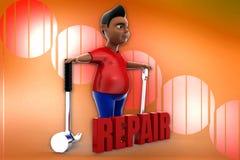 3d man repair illustration Royalty Free Stock Photography