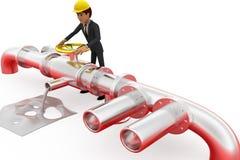 3d man repair pipe line concept Stock Photo