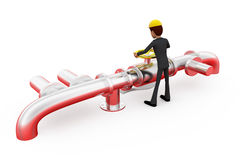 3d man repair pipe line concept Royalty Free Stock Photo