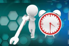 3d man repairing clock illustration Stock Photography