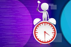 3d man repairing clock illustration Royalty Free Stock Photography