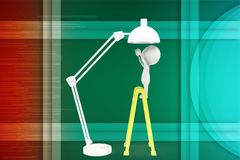 3d man repairing table light stand illustration Stock Photos