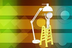 3d man repairing table light stand illustration Stock Images
