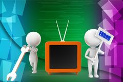 3d man repairing television illustration Royalty Free Stock Photography