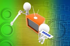 3d man repairing television illustration Stock Images