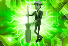 3d man repairman  with screw driver illustration Royalty Free Stock Image