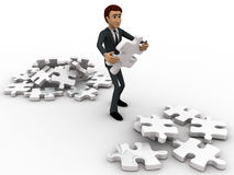 3d man replacing puzzle pieces from one place to another place concept Royalty Free Stock Photography