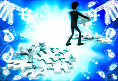 3d man replacing puzzle pieces from one place to another place illustration Stock Photo