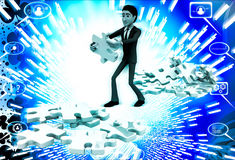 3d man replacing puzzle pieces from one place to another place illustration Royalty Free Stock Images