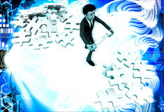 3d man replacing puzzle pieces from one place to another place illustration Stock Image