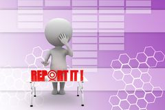 3d man report it Illustration Stock Photo