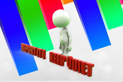 3d Man Report It or Keep Quiet choices Illustration Royalty Free Stock Photos