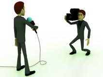 3d man reporter concept Stock Image