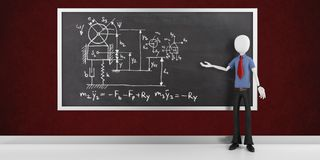 3d man research scientist with physics drawing on a blackboard. 3d man research scientist with physics drawing Stock Photo