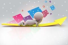 3d man rest on arrow illustration Stock Images