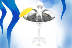 3d man rest in water  illustration Royalty Free Stock Photography