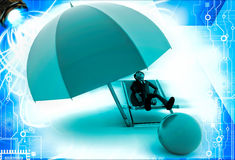3d man resting on beach chair with yellow umbrella overhead and orange ball illustration Royalty Free Stock Images