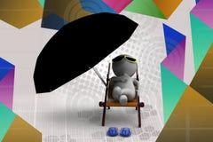 3d man resting illustration Stock Photo