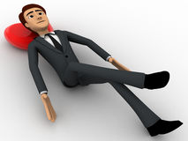 3d man resting and sleeping on floor concept Royalty Free Stock Photography