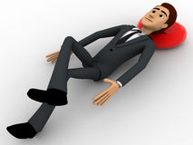3d man resting and sleeping on floor concept Royalty Free Stock Photo