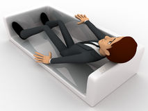 3d man resting on sofa concept Royalty Free Stock Photography