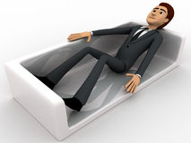3d man resting on sofa concept Stock Images