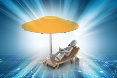 3d man resting under the umbrella Stock Photo
