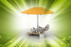 3d man resting under the umbrella Royalty Free Stock Images