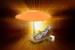 3d man resting under the umbrella Royalty Free Stock Photos
