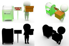 3d man return to sender Concept Collections With Alpha And Shadow Channel Royalty Free Stock Images