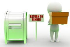 3d Man Return To Sender Royalty Free Stock Photography