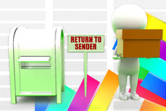 3d Man Return To Sender Illustration Stock Photo