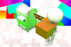 3d Man Return To Sender Illustration Stock Image