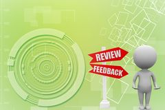 3d man with review back illustration Royalty Free Stock Photos