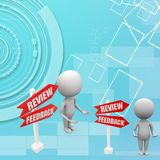 3d man with review back illustration Royalty Free Stock Photography