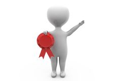 3d man ribbon award concept Stock Photography