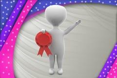 3d man ribbon award illustration Royalty Free Stock Images