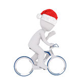 3d man riding on a bicycle. 3d man wearing a red Santa hat for Christmas riding on a bicycle and waving his hand, side view rendered illustration on white Stock Photo