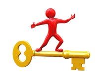 3d man riding on golden key Stock Photography