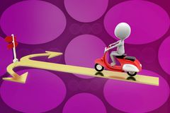 3d man riding  scooter on arrow Royalty Free Stock Photos