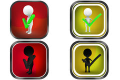 3d Man right correct concept icon Royalty Free Stock Photography