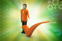 3d man with right mark, success concept. In color background Stock Photography