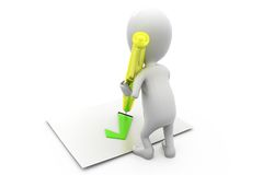 3d man right pen concept Royalty Free Stock Photography