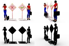 3d man right wrong concept collections with alpha and shadow channel Royalty Free Stock Photos